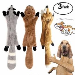 3 Pack Hund Quietschende Kauen Spielzeug Keine Füllung Hund Spielzeug Plüsch Tier Hundespielzeug für Kleine Medium Hund - 1