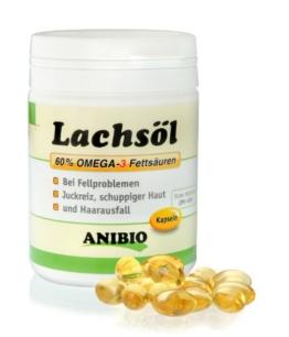 Anibio Lachsölkapseln 180 Stueck Ergänzungsfutter für Hunde und Katzen, 1er Pack (1 x 0.133 kg) - 1