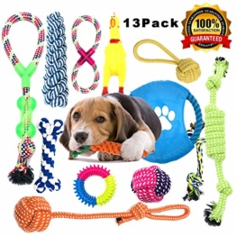 Anwin Hundespielzeug 13pcs Kauspielzeug Interaktives Spielzeug Set Intelligenz Hundeseile Spielset Seil mit geflochtem Ball aus Baumwolle Zahnreinigung für große mittelere kleine Hunde und Welpen - 1