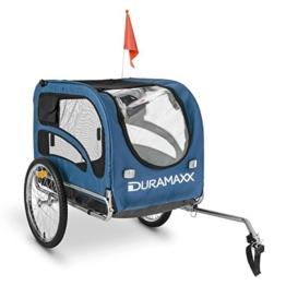 Duramaxx - King Rex, Fahrradanhänger, Hundeanhänger, Lastenanhänger, kleine bis mittelgroße Hunde, Laderaum: 250L Volumen, Belastung:max.40kg, Kugel-Kupplung für Fahrräder mit 26' -28'', blau - 1