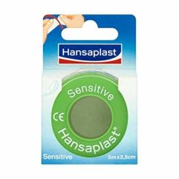 Hansaplast Fixierpflaster Sensitive 5 m x 2,5 cm, hautfreundliches und hypoallergenes Tape zur Fixierung von Verbänden, breite Pflaster Rolle, leicht abreißbar - 1