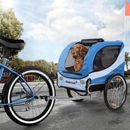 Happypet Hundeanhänger Hundetransporter Fahrradanhänger Hunde Fahrrad Anhänger Regenschutz inkl. Anhängerkupplung Regenschutz Navy BLAU - 1