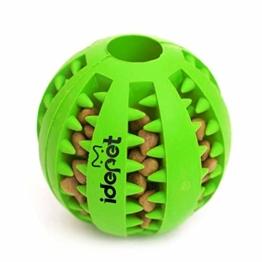 Idepet Hund Spielzeug Ball, ungiftig Bite resistent Spielzeug Ball für Hunde Welpen, Hundefutter Treat Feeder Zahn Reinigung Ball, Hunde Übung Spiel Ball IQ Training Ball - 1