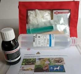 Notfall - Vergiftung- Hunde: Soforthilfe-Set mit Aktivkohle Suspension 100ml - 1