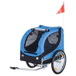 Pawhut® Hundeanhänger Fahrradanhänger Hunde Fahrrad Anhänger Blau+Schwarz - 1