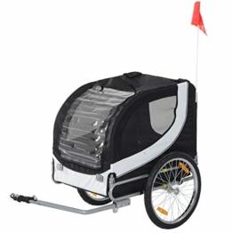 Pawhut Hundeanhänger Fahrradanhänger Hundetransporter Hunde Fahrrad Anhänger Schwarz+Weiß - 1