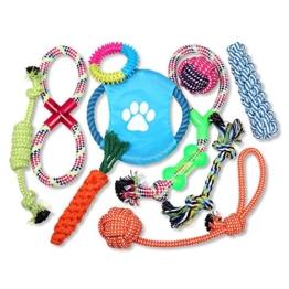 Schramm® 10er Set Hunde Spielzeug aus Seil Kauspielzeug Dog Hund Kauspielzeug Baumwollknoten Hundespielzeug 10 Teile Kauspielzeug - 1