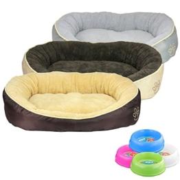 Smartweb Waschbares Flauschiges Hundebett 90 x 68 x 19cm für Hund und Katze Katzenbett Hundekissen Katzenkissen Tierkissen Farbe: Beige - 1