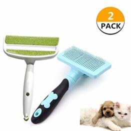 VCZONE selbstreinigende Zupfbürste, 2 Stück, Haustierbürsten für Hunde – Katzen, Fellpflegebürste für Schuppen entfernt Matten, Tierhaarentferner Bürste für Möbel, Kleidung, Couch, Teppich, blau/grün - 1