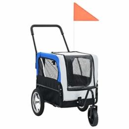 vidaXL Hundefahrradanhänger Fahrradanhänger Hundeanhänger Hundetransporter Haustieranhänger Hunde Fahrrad Anhänger Jogger 2 in 1 Grau Blau - 1