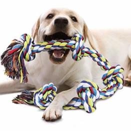 VIEWLON Hundespielzeug Seil für Starke große Hunde, Zerrspielzeug Hund Robuste Kauspielzeug 5 Knoten Tau für Aggressive Kauen, 92 cm Hundeseile interaktive Kauen Spielzeug für mittlere und große Hunde - 1